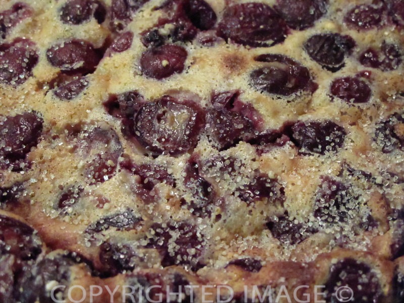 Bastille Day Foods - Cherry Clafoutis topped with vanilla sugar crystals