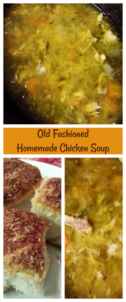 Serve up a big bowl of Old Fashioned Homemade Chicken Soup made in the crock pot! Add a fresh roll or two and you have dinner.