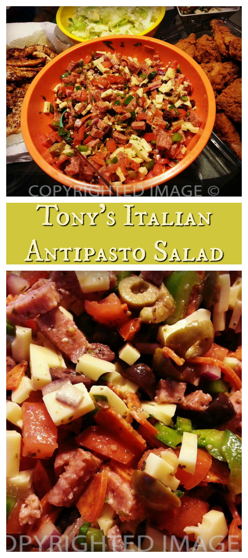 Tony's is the best Italian Antipasto Salad! Memories are made of this. We've made the original recipe a traditional summer menu item.