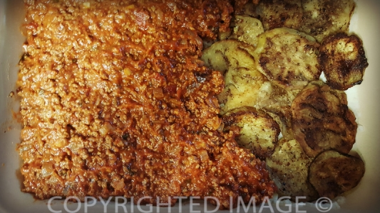 eggplant moussaka recipe - building the layers