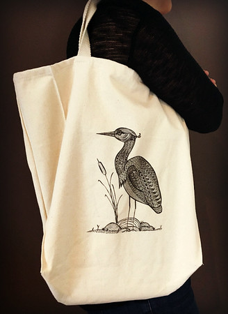 Kelsey The Heron Grocery Tote - Original Art Note Cards