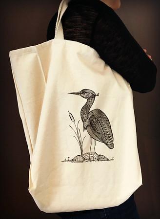 Kelsey The Heron Grocery Tote - Original Art Note Cards