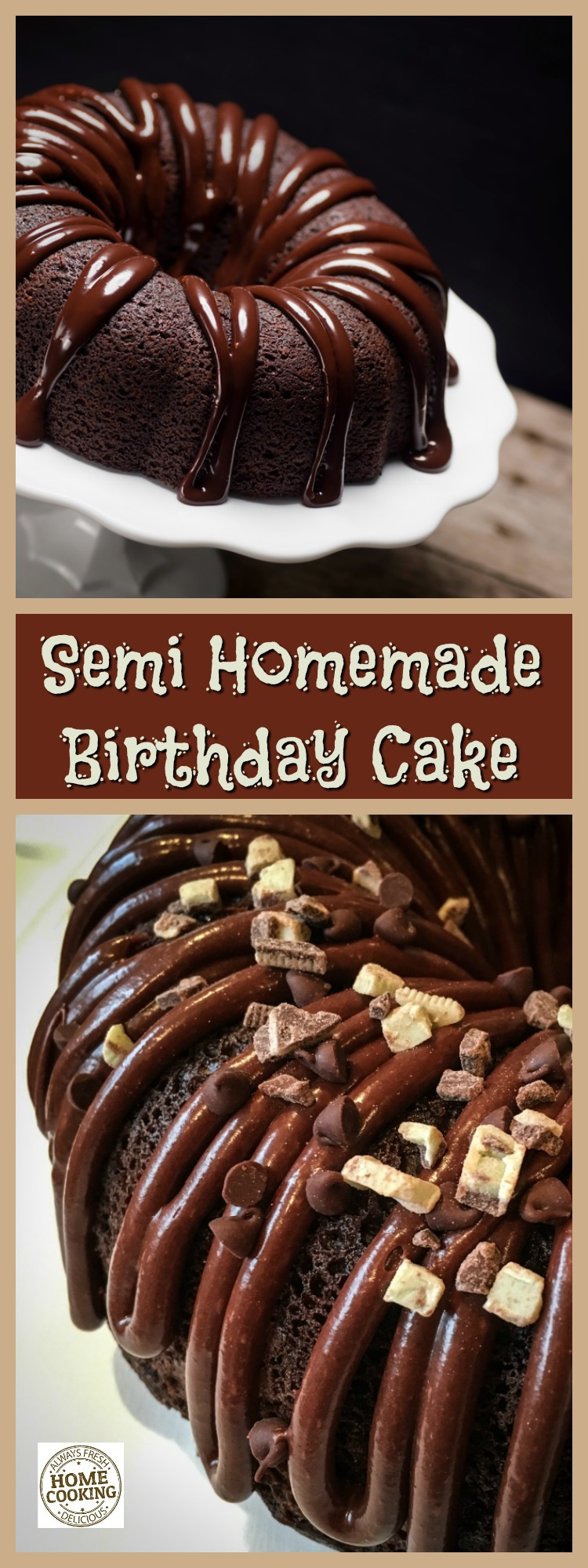 Bake one of the best semi homemade birthday cake for your family. It's super easy with a Bundt pan and a couple bags of crushed candy!