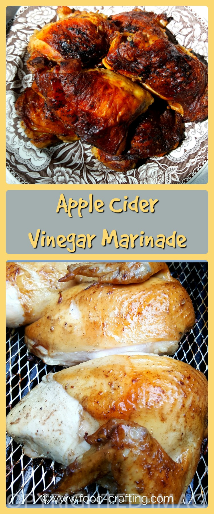 Make this apple cider vinegar marinade for your next batch of grilled chicken. You may say goodbye to tomato based BBQ sauces and switch to tangy marinade!