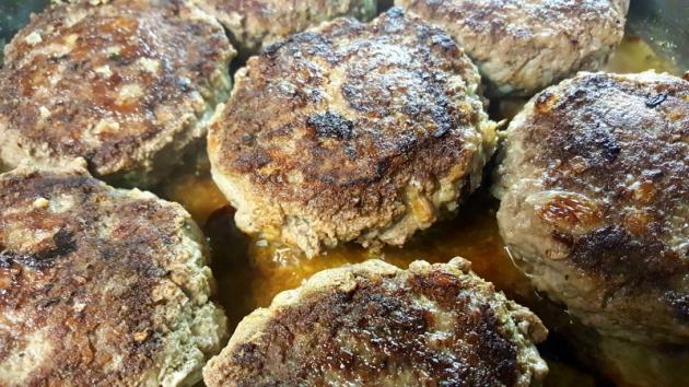 Browned meat patties