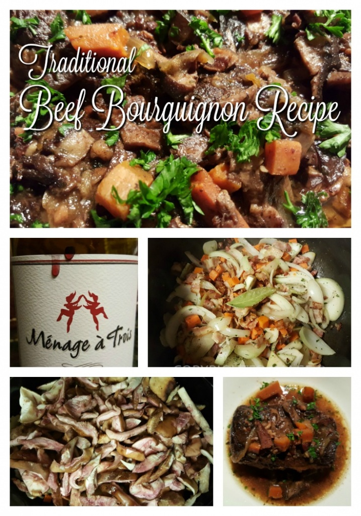 traditional beef Bourguignon recipe - At home, I call it Boeuf Bourguignon and it is one of many of my comfort food recipes.  Whether you call it beef in English or boeuf in French,this is how to cook an easy and economical stew recipe for French home style comfort food!