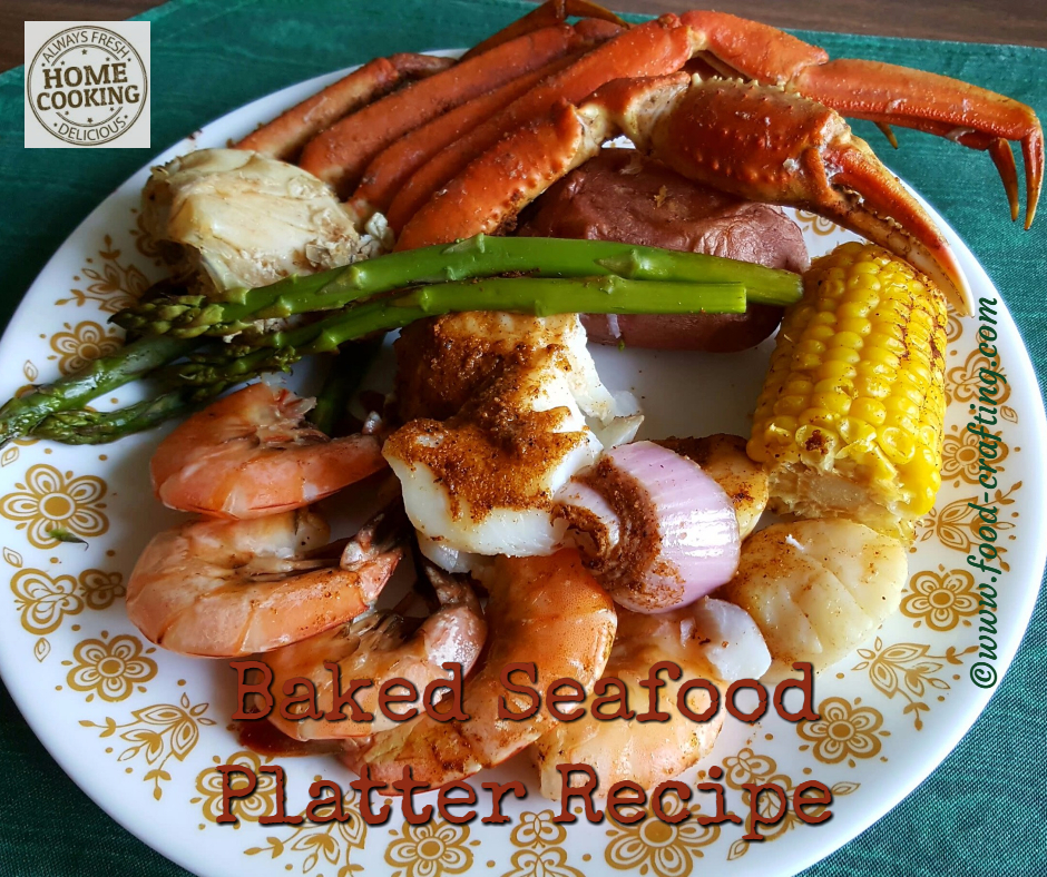 Baked Seafood Platter recipe on a dinner plate.