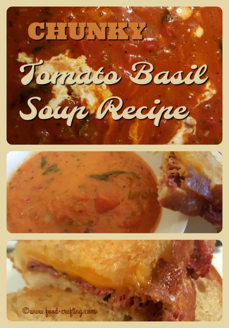 Chunky tomato basil #soup - Sunday chunky tomato basil soup recipe not only #quick to prepare but #easy too. All we added was a #grilled cheese and pastrami #sandwich for a hearty meal.