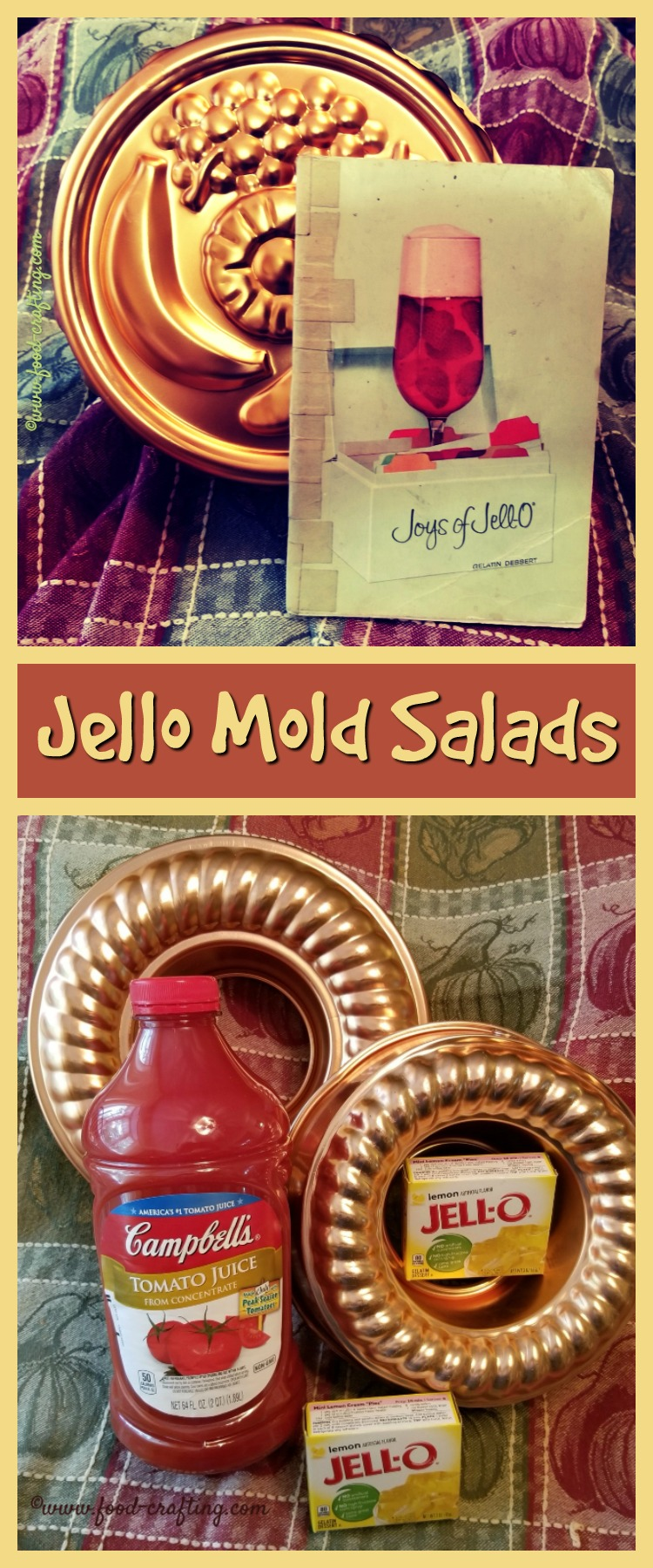 We're going vintage gelatin recipes - specifically those Jello Mold Salads that I remember seeing everywhere years ago. Never thought of them as salads!