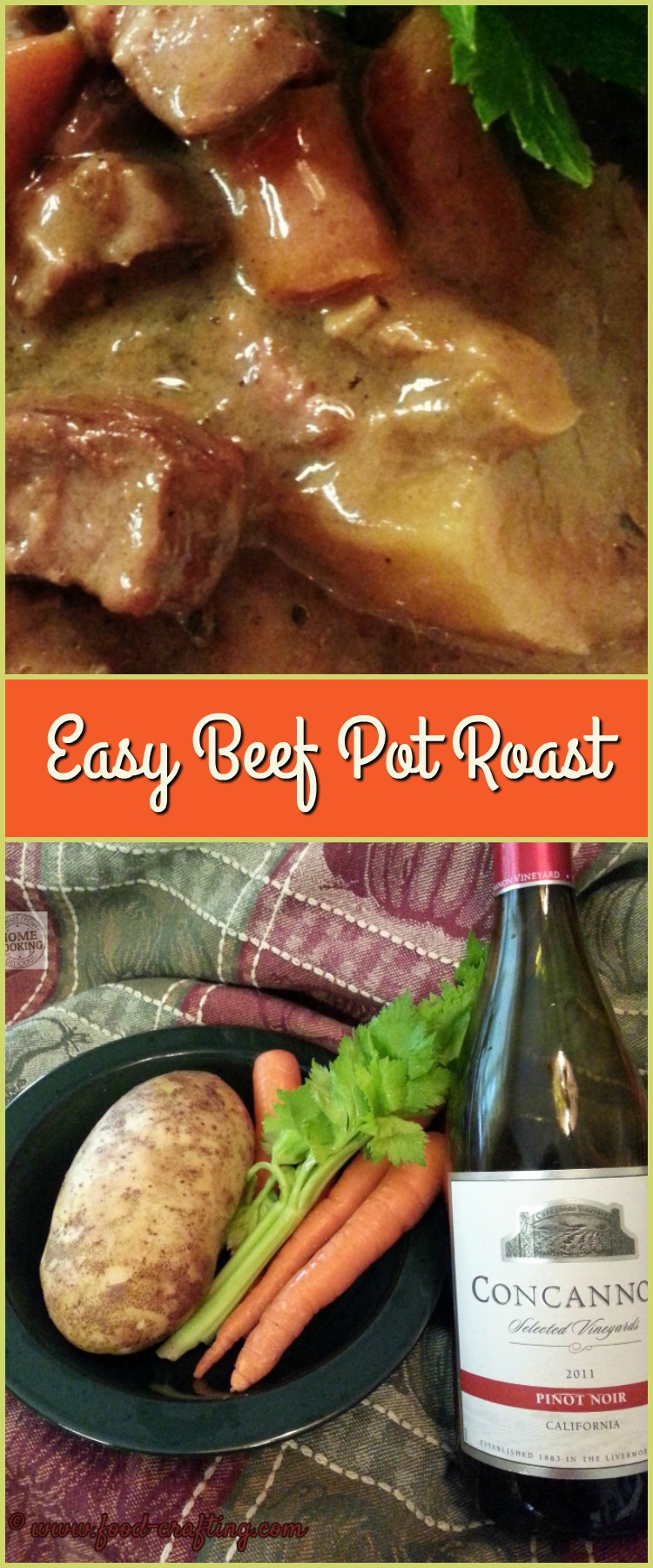 Imagine this...a easy beef pot roast recipe slow cooking in a mushroom cream sauce seasoned with onions and laced with red wine. | food-crafting.com