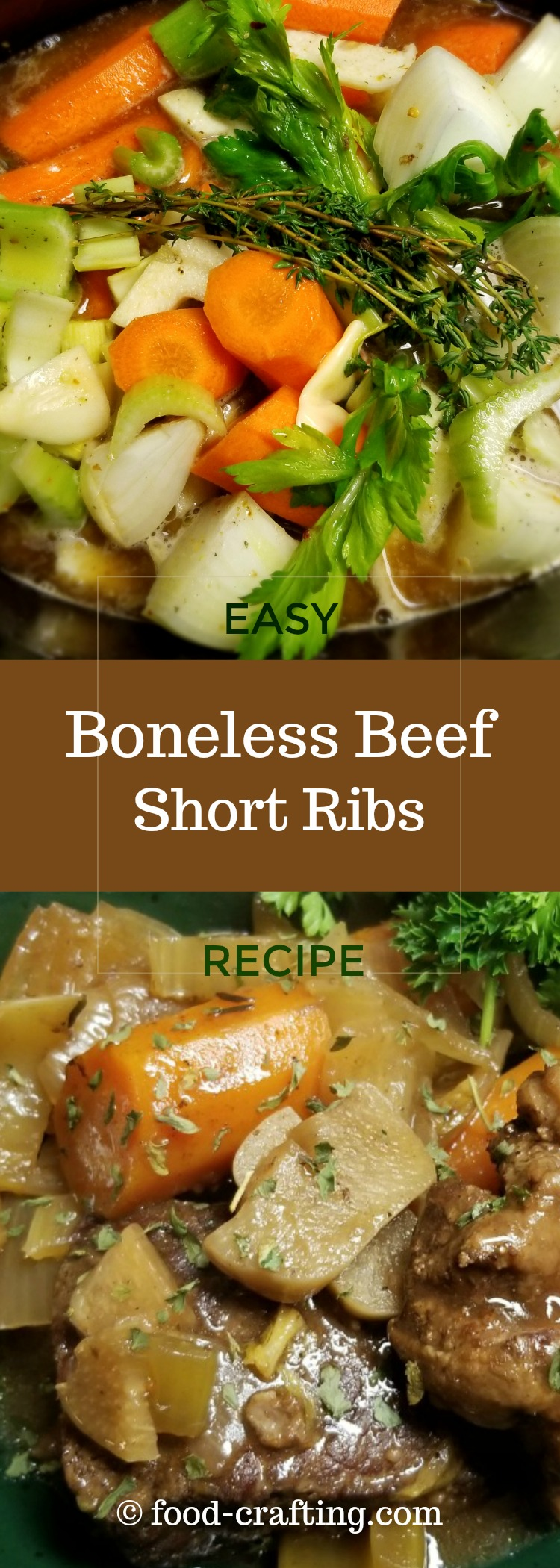 This easy boneless beef short ribs recipe is not exactly lean and mean, with all that butter and all that wine but it sure is easy.  Chop the vegetables while the meat is browning, pour some wine into a pan and add everything to your favorite slow cooker.  You've got 6 hours to multi-task. Enjoy the day!