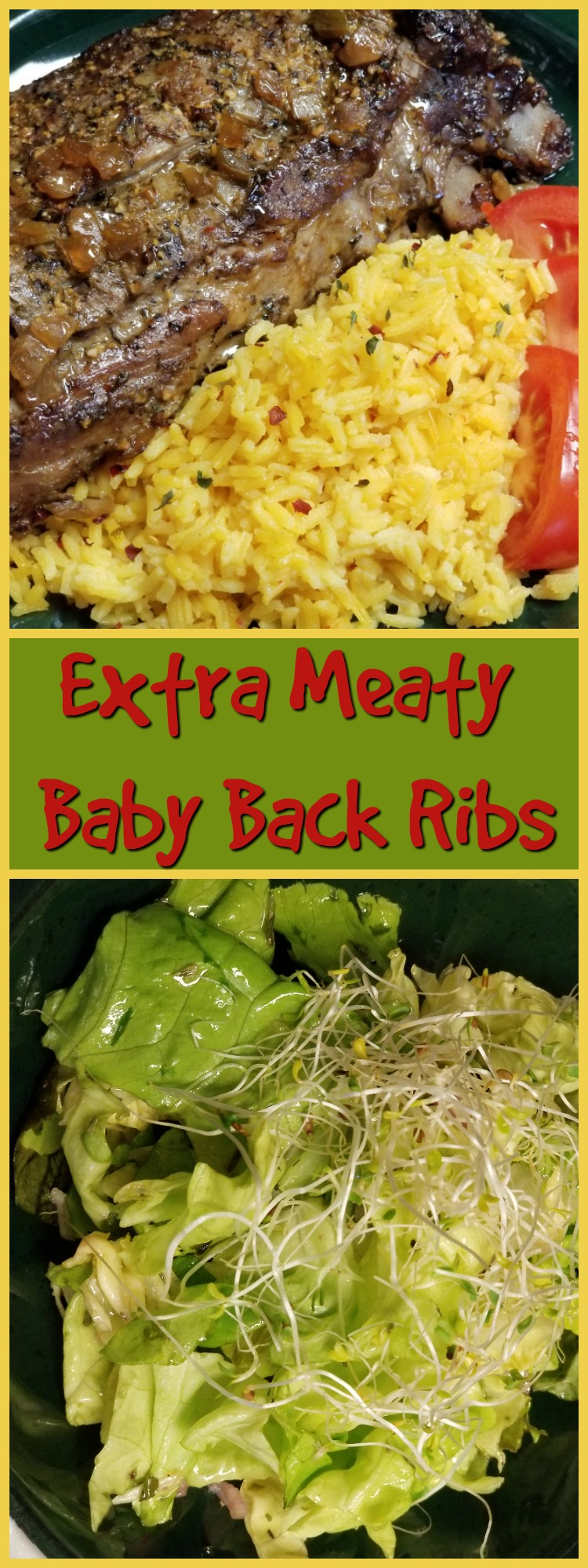 """When I say this meal is """"set it and forget it"""" easy, I mean it. Everyone loves slow cooked, fall off the bone tender and extra meaty baby back ribs so what could be easier than a slight variation on the regular barbecued ribs? Simple seasonings, a foil cover and voilà! Add veggies and a salad. Done."""