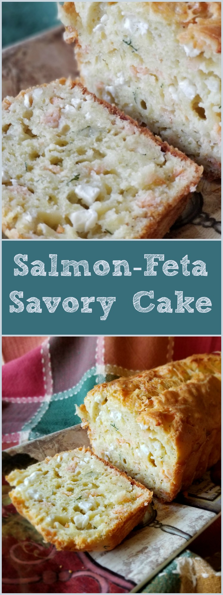 Smoked salmon feta cake - Not only are savory cakes easy to prepare with a few basic ingredients but the flavor possibilities are almost endless.  We always try to include smoked salmon in an appetizer platter but the cost can become prohibitive when you have many guests.