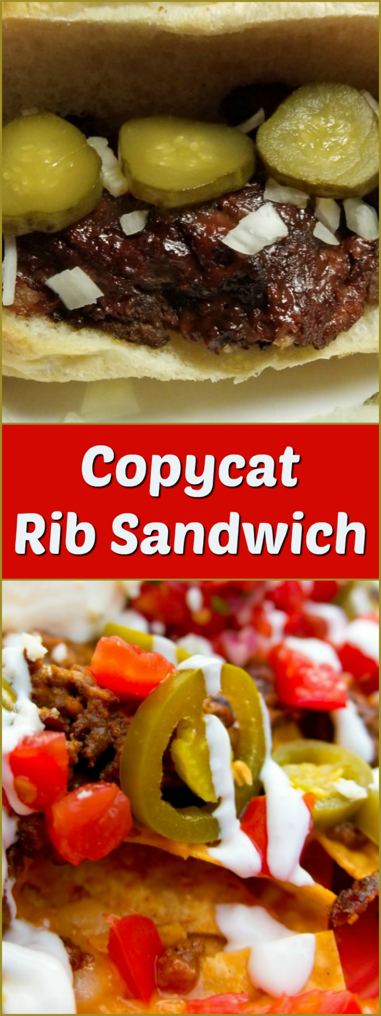A copycat rib sandwich shown in an open roll and topped with pickles and chopped onions.