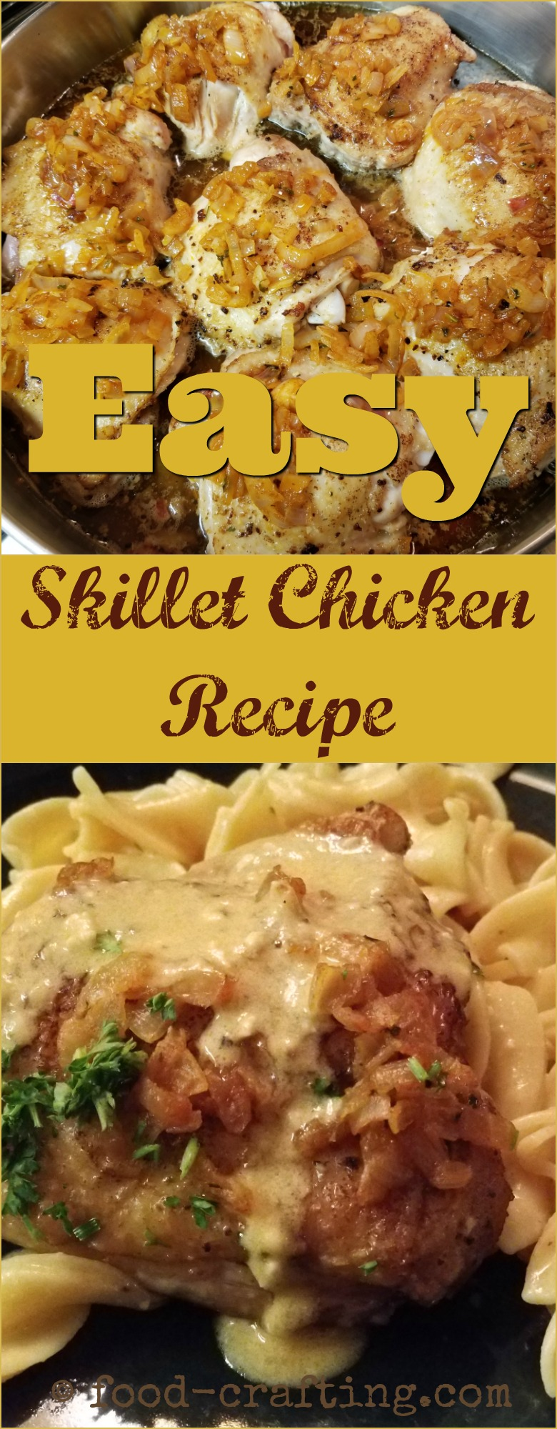 French easy skillet chicken recipe - This easy skillet chicken recipe will have you drooling over braised #chicken thighs or breasts, sautéed with lots of shallots and covered in a tangy #cheese sauce. Toss the pasta in the sauce then ladle more sauce on the chicken pieces for a satisfying, quick and #easy skillet #dinner.