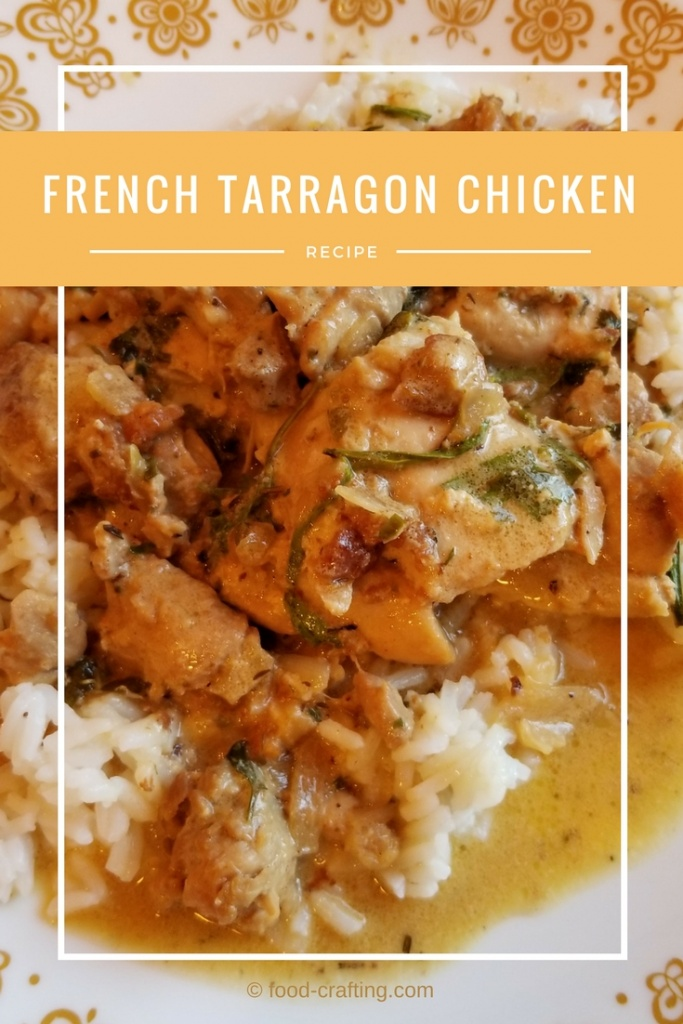 Plate of French Tarragon Chicken Recipe served over rice