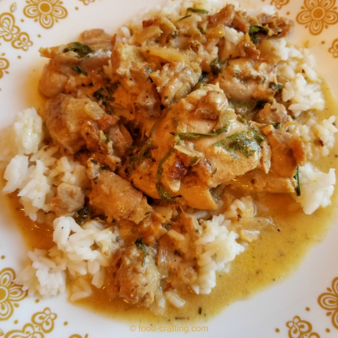 Pieces of French Tarragon Chicken Recipe over rice