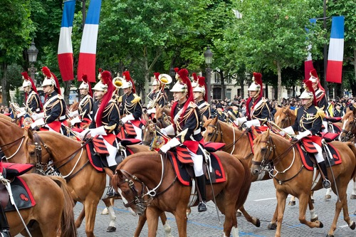 PARIS - JULY 14: Cavalry at a military parade in the Republic Day (Bastille Day) on the Champs Elysees in Paris, France on July 14, 2012.