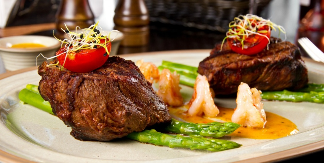 home delivery meats seafood -Beef steak and shrimp with grilled vegetables