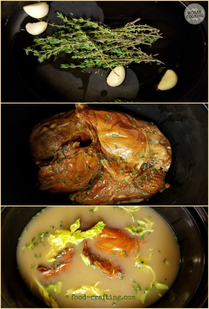 Herbs, garlic, smoked chicken pieces and broth to make smoked chicken rice soup in the slow cooker.