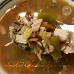 Bowl of smoked chicken rice soup