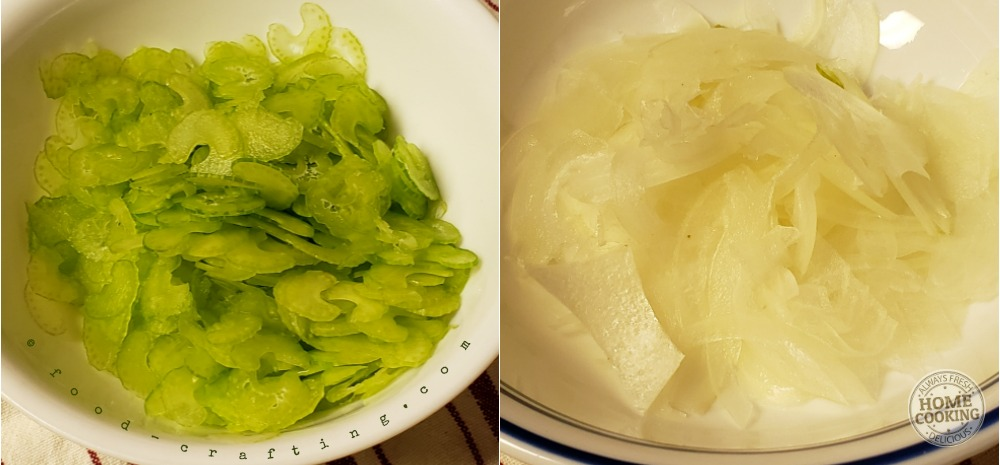Celery and onions sliced paper thin using a mandoline slicer