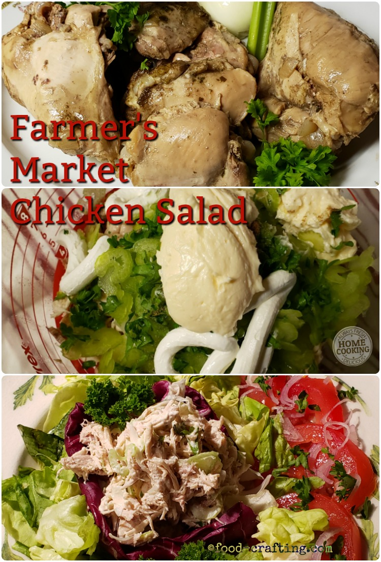 Easy Farmer's Market chicken salad from cooked chicken to plated dish.