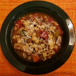 bowl of easy beef minestrone soup