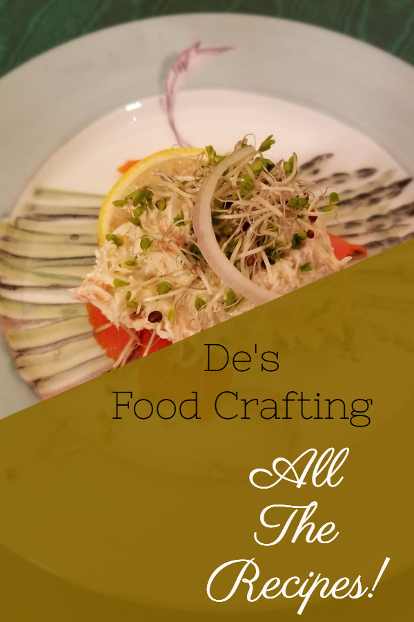 Website table of contents for De's Food Crafting blog.