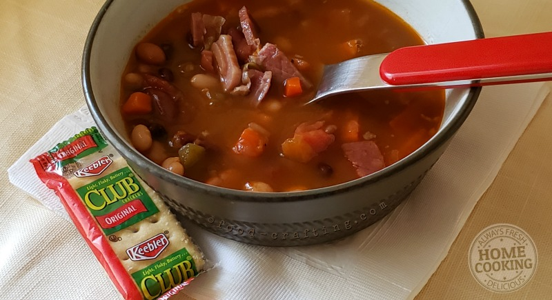 Bowl of Honey Baked Ham Bean Soup with Keebler© crackers